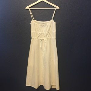 LACAUSA Linen Blend White Dress With Pockets
